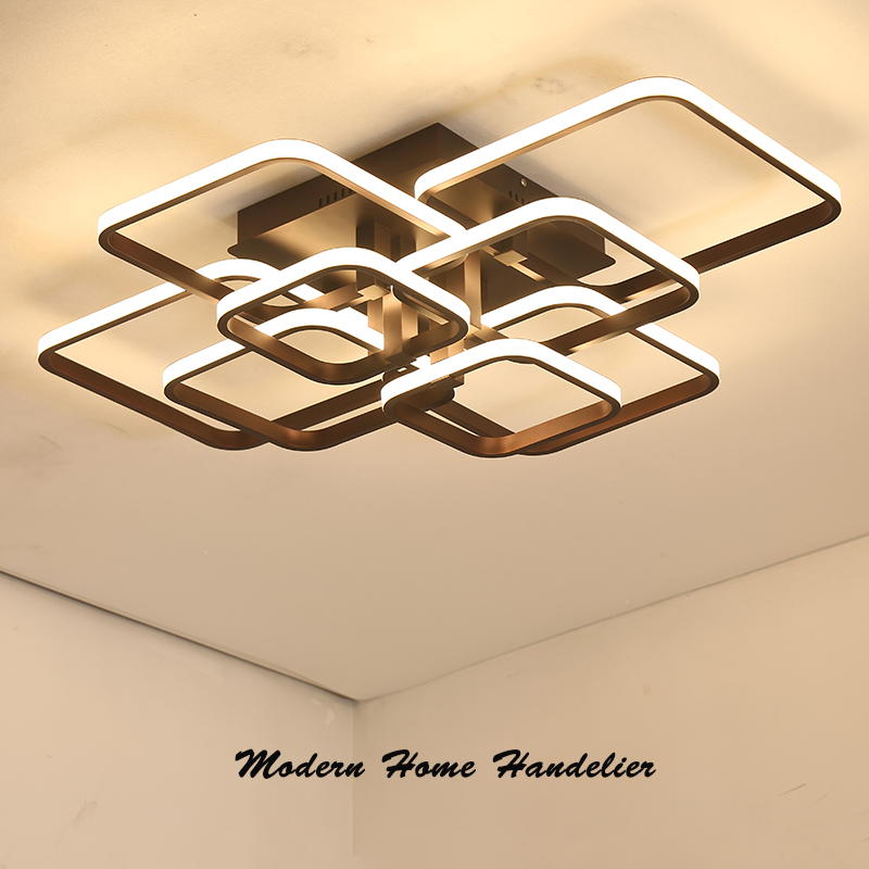 Modern Led Ceiling Chandelier Lamp Fixtures Square Circle Rings Chandelier For Living Room Bedroom Home Ac85-265v Beautiful In Colour Lights & Lighting