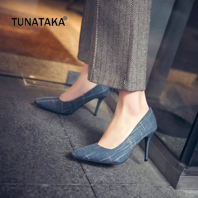 Fabric Thin Hihg Heel Slip On Woman Pumps Fashion Pointed Toe Party High Heel Shoes Woman Black Blue Brown stylish womens pointed toe animal print pumps party stilettos shoes plus new fashion female slip on thin heel super high heel