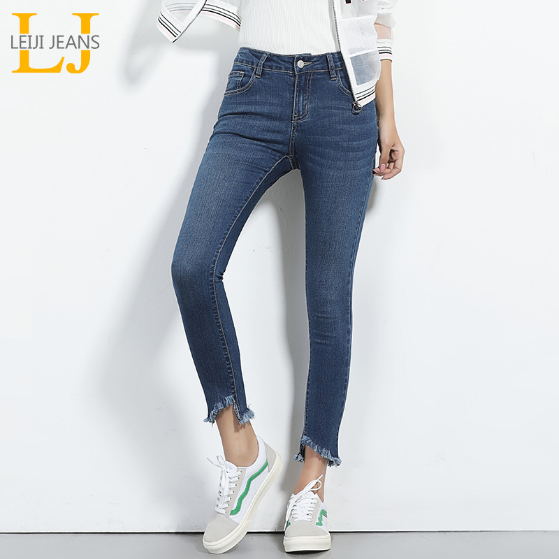 LEIJIJEANS New Autumn Vintage Plus Size L Tassel Ankle Length Softener Mid Waist Denim Elastic Skinny Pencil   Jeans   Women 5830