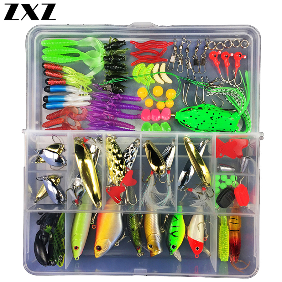 Fly Fishing Lures Set 28/88/105/141Pcs Minnow Pliers Spoon Minnow Hooks Plier Fish Lures Kit In Box Isca Artificial Bait Gear W3
