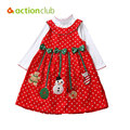 Wholesale 2015 Baby Girls Christmas Dresses Winter Long Sleeve Lovely Bow Snowman Clothing vetement fille Free Shipping KD423