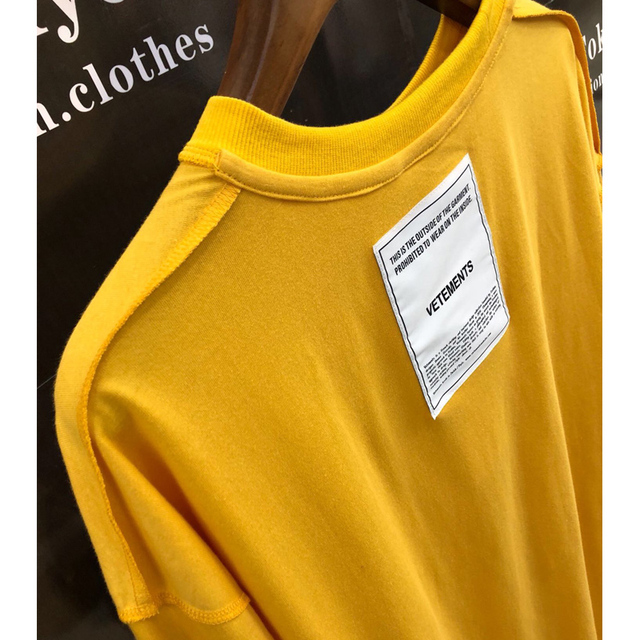 19SS Vetements T Shirts Men Women 1:1 Embroidery Both Sides Vetements Top Tees Casual Yellow Black White Patch Vetements T-Shirt