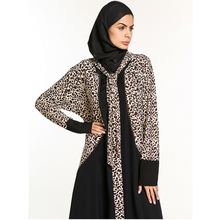 New Design Embroider Beaded Leopard Print India Pakistan Muslim Clothing,Mid East Arabian Long Robe With Scraf Drop Shipping