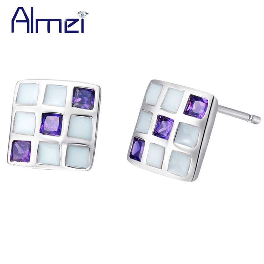 Almei 15%Off Affordable Lovely Korean Elegant Colorful Earrigs for Women Mothers Day Gift Made With Cubic Zirconia Earring R508