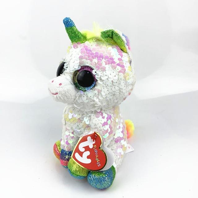 7c9654bdf61 15CM Hot Sale Ty Beanie Boos Big Eyes white sequin Unicorn Lola Dog Lion  Bat Alpaca Plush Toy Doll Stuffed Animal Plush Kid Toy