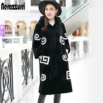 Nerazzurri Womens Faux Fur Coat with hood 2020 Autumn Winter Patchwork Fur Jacket Long Furry Fake Rex Rabbit Fur Overcoat