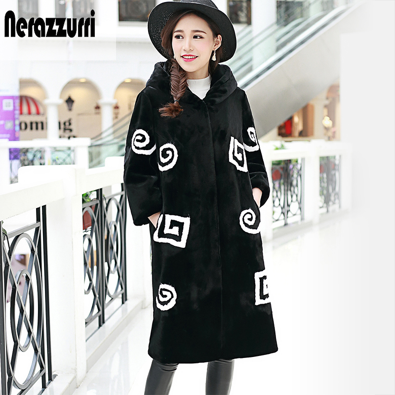 Nerazzurri Womens Faux Fur Coat mit Kapuze 2019 Herbst Winter Patchwork Pelzjacke Lange Furry Fake Rex Rabbit Fur Overcoat