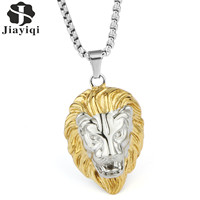 Jiayiqi Fashion Men Necklace Gold Lion Head Stainless Steel Pendant Necklace Punk Cool Design Male Jewelry