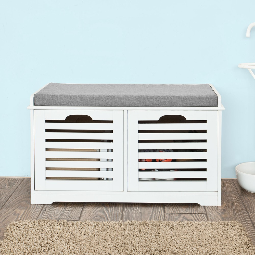 SoBuy FSR23-K Storage Bench 2 Drawers & Removable Seat Cushion, Shoe Cabinet Shoe BenchSoBuy FSR23-K Storage Bench 2 Drawers & Removable Seat Cushion, Shoe Cabinet Shoe Bench