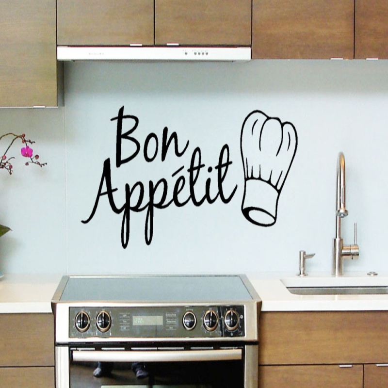 1pc Vinyl Wall Stickers Quote Bon Appetit Dinning Room Decor Kitchen Decals Art Wall Sticker Home