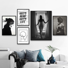 Fashion Sexy Girl Love Quotes Black White Wall Art Canvas Painting Nordic Posters And Prints Wall Pictures For Living Room Decor fashion perfume flower quotes wall art canvas painting nordic posters and prints wall pictures for living room girl salon decor