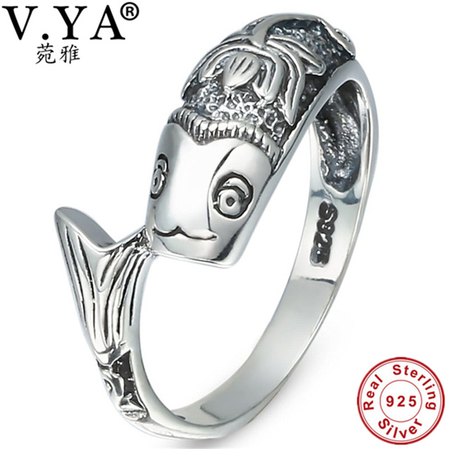 100% Real Pure 925 Sterling Silver Ring classic fish ring for women Wholesale Fi