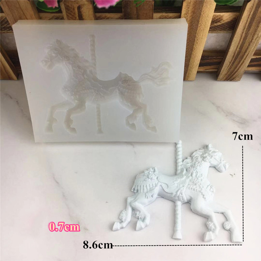 Jewelry Carousel Horse Silicone Mould Cake Decorating Chocolate Baking Mold 8C