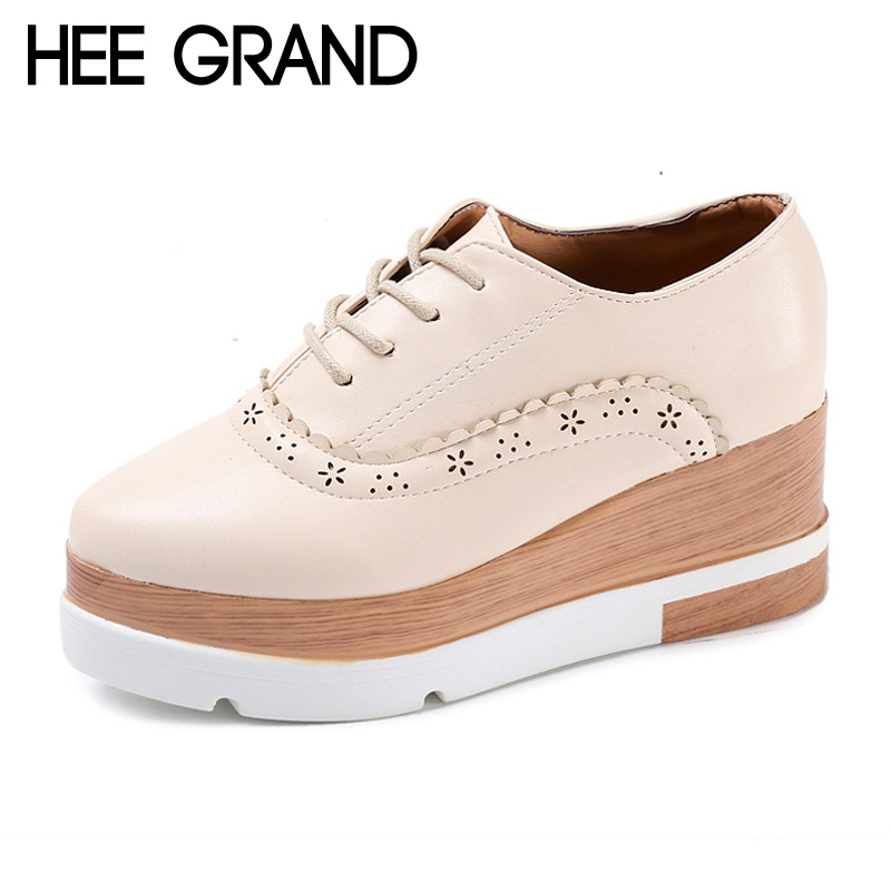 HEE GRAND Cut Out Brogue Shoes Lace-Up Platform Oxfords Shoes Woman PU Patent Leather Creepers Spring Fashion Flats XWD6282 hee grand 2017 new women oxfords british pu patent leather platform flats spring round toe slip on casual shoes woman xwd3511