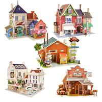 Children Kids Wood Puzzle Toy Assembling Wooden Castle Model Jigsaw Puzzle 3D Puzzle Development Intelligence Toy