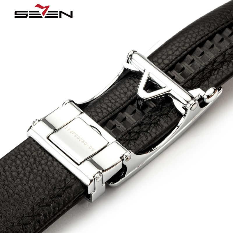 Seven7 marka prawdziwy skórzany pasek mężczyźni luksusowa marka projektant biznes sprzęgła pracy sukienka pasy mężczyzna automatyczne klamry wysokiej jakości