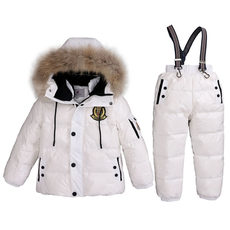 Super Warm Children Winter Ski Suits Boys Girl Duck Down Jacket + Bib Pants 2 Pcs Clothing Set Thermal Kids Snow Wear Snowsuit russia winter boys girls down jacket boy girl warm thick duck down