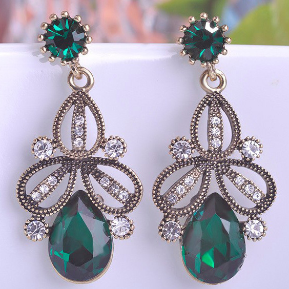 Luxury brand Emerald Costume Jewelry Shiny New Arrival Brincos Turkish women Aretes Grandes Noble Vintage Brinco & Luxury brand Emerald Costume Jewelry Shiny New Arrival Brincos ...