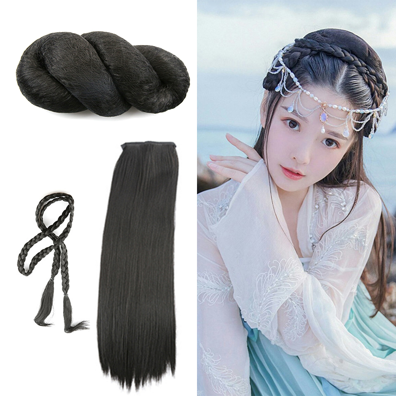 black vintage hair set for princess chinese ancient dynasty women cosplay halloween cosplay masquerade party supplies in Costume Accessories from Novelty Special Use