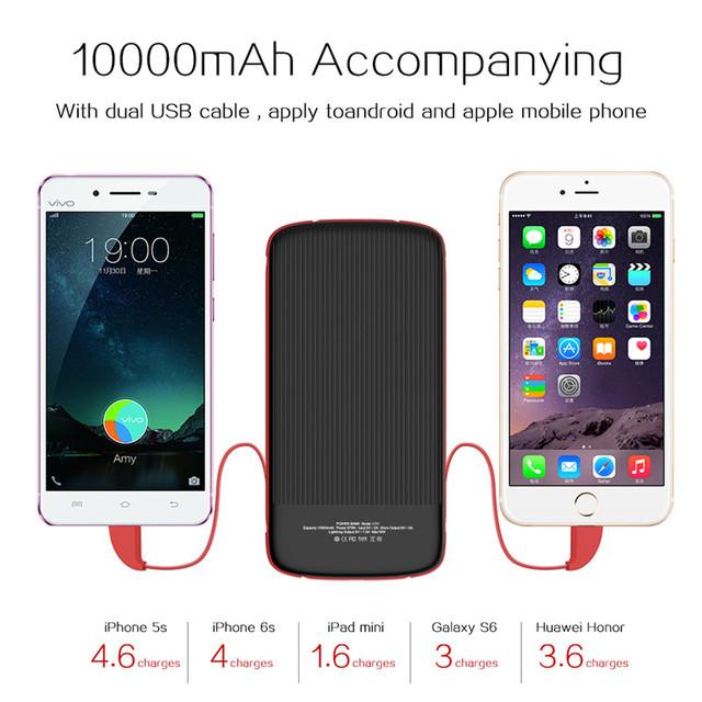10000 mah banco de alimentación universal para iphone 7 plus android teléfonos ipad línea doble usb cargador portátil de batería externa powerbank