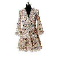 Летнее женское платье с v образным вырезом вышивка платье трапециевидной формы чешские выдалбливают рукав «фонарик» кружевное платье роко