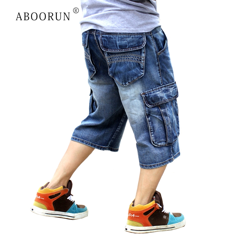 ABOORUN Denim Shorts Jeans Skateboard Cargo Streetwear Hip-Hop Male Baggy Plus-Size Mens