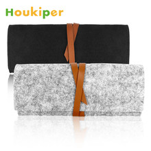 Houkiper Women Portable Vintage Cosmetic Bag Makeup Brushes Bag PU Leather Felt Wrap Purse Foldable Pouch for Makeup Brush Pen(China)