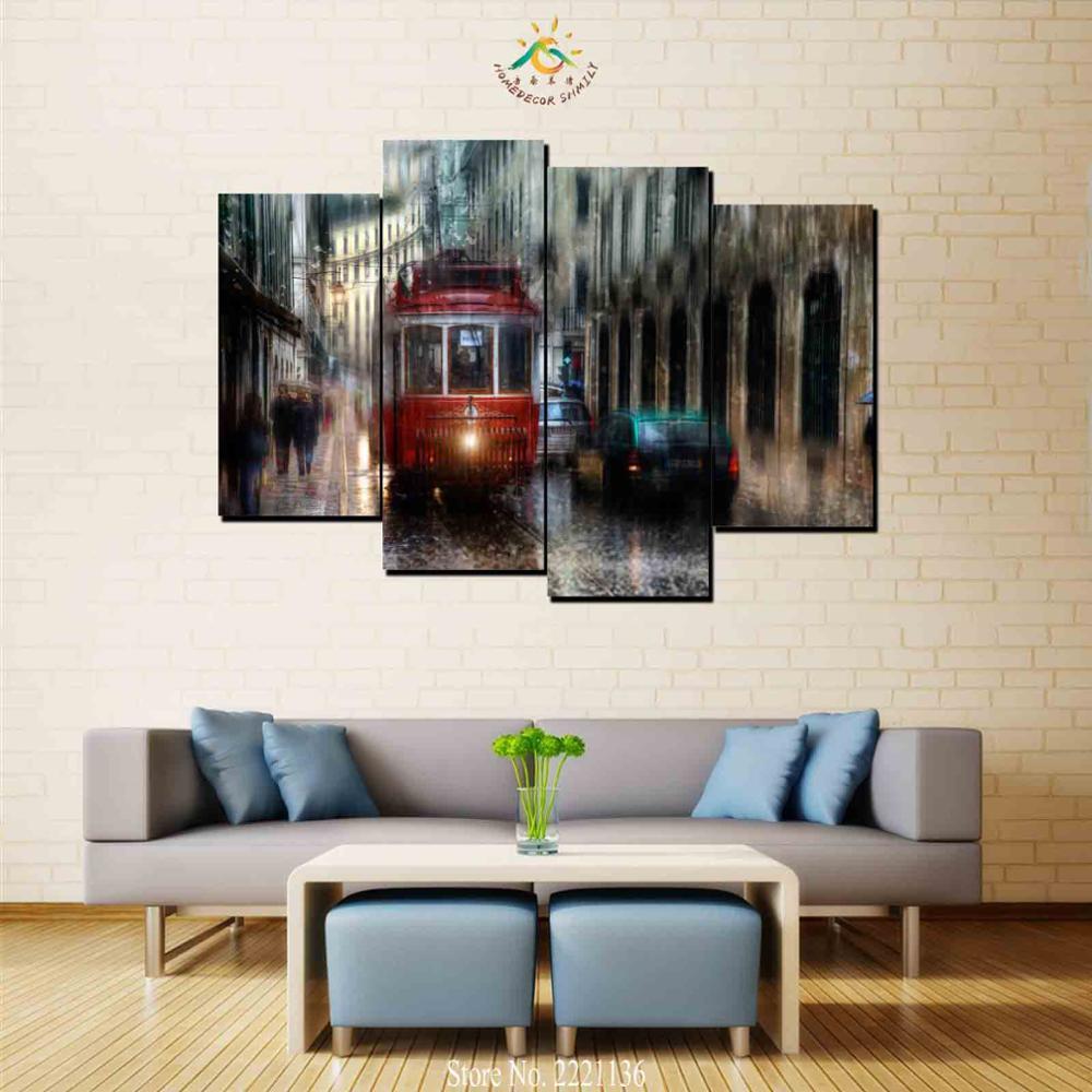 4 Шт. Лондон Уличный Автобус Современного Искусства Стены Холст Печатные Картины HD Отпечатки