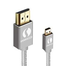 Annwzzd Micro hdmi кабель позолоченный 1,4 Micro HDMI к HDMI кабель высокоскоростной HDTV кабель поддерживает Ethernet, 3D, 4K