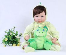 49cm Baby Reborn doll Realisting 3/4 Silicone With soft wig play houseToys For Children Stuffed Doll Toy Kids bebe reborn