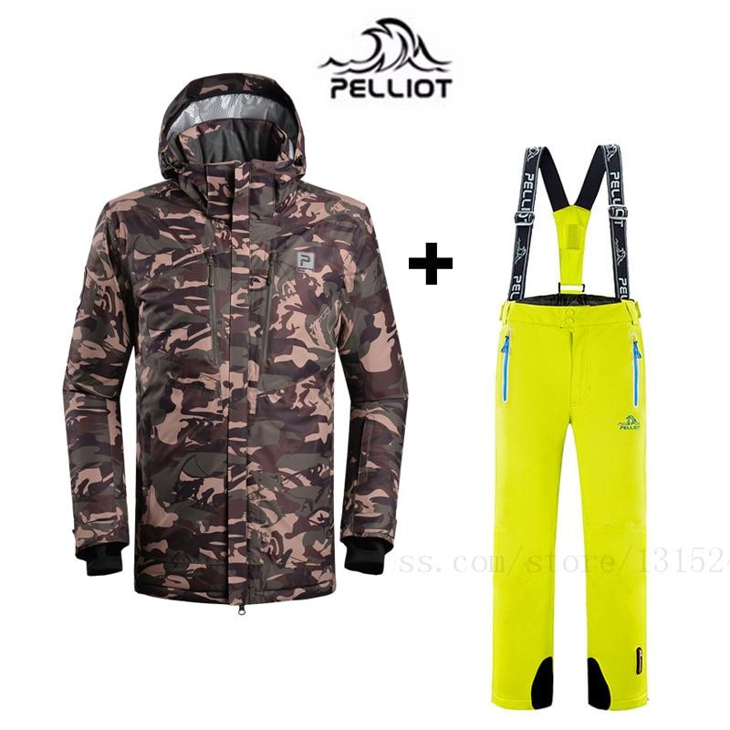 Pelliot Top Quality Men s Ski Suit Waterproof Super Warm Mountain Skiing Suit Outdoor Ski Jacket