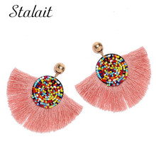 Bohemian Colorful Sector Beaded Tassel Earrings Round Gold Color Ball Ribbon Drop Earrings Summer Accessories Jewelry red gray round colorful embroidery drop earrings