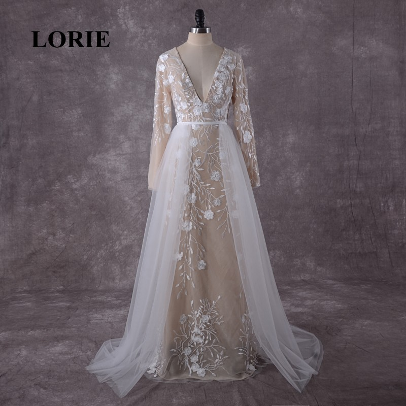 LORIE Plus Size Long Sleeve Lace Wedding Dress Detachable Train V Neck Custom Made Wedding Gowns Mermaid Bride Dress 2019 Real