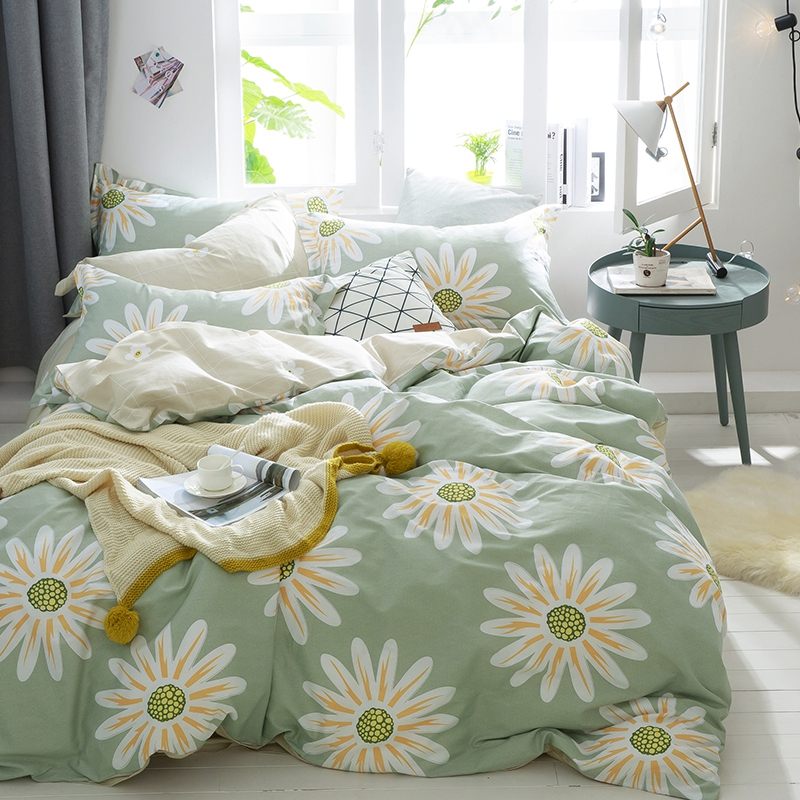 100% Cotton Green Quilt Cover Comfortable Duvet Cover Print Pattern Flower Solid Flat Sheet Queen Size
