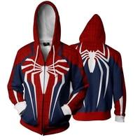 Cloudstyle 2018 Fashion 3D Hoodies Men Zipper Spiderman Cosplay 3D Print Sportwear Outwear Plus Size 5XL