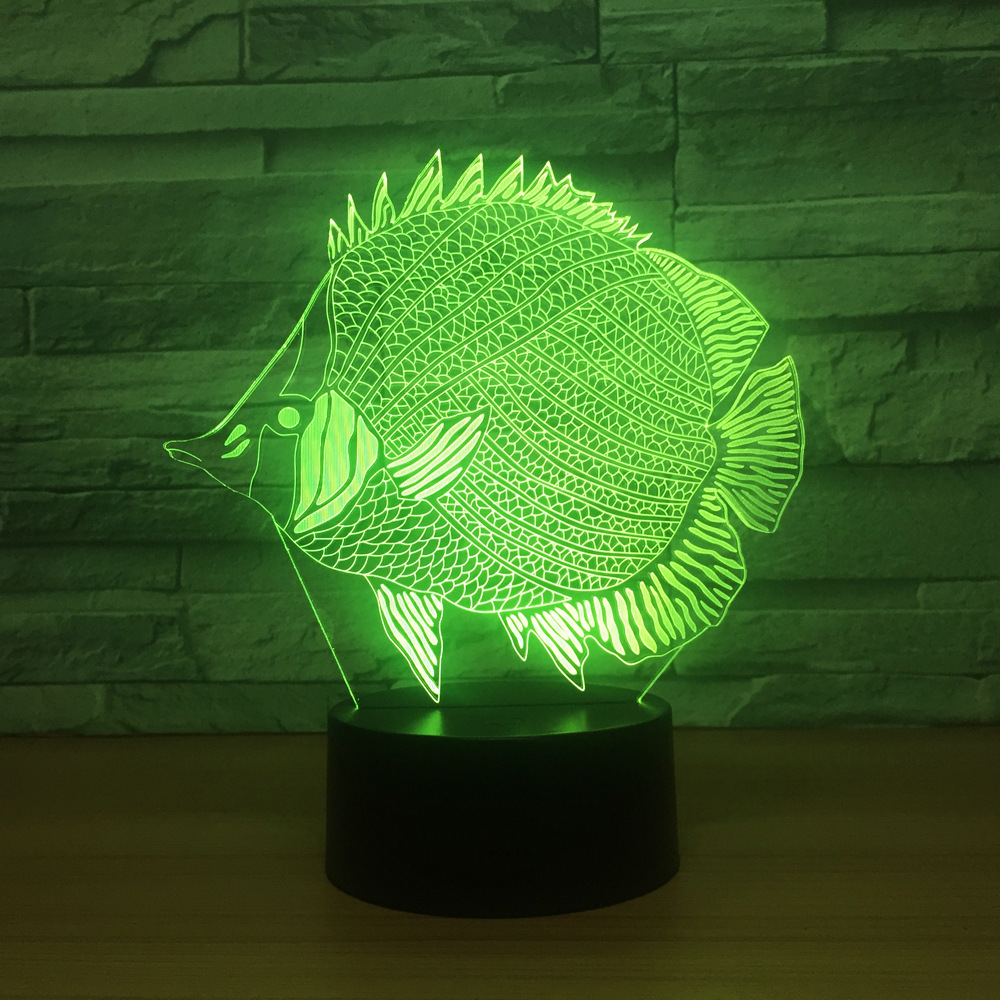 New Colorful Small Fish 3d Light Led Acrylic Touch Stereoscopic Colorful Night Lamp Kids Room Led Kids Lights Lamps