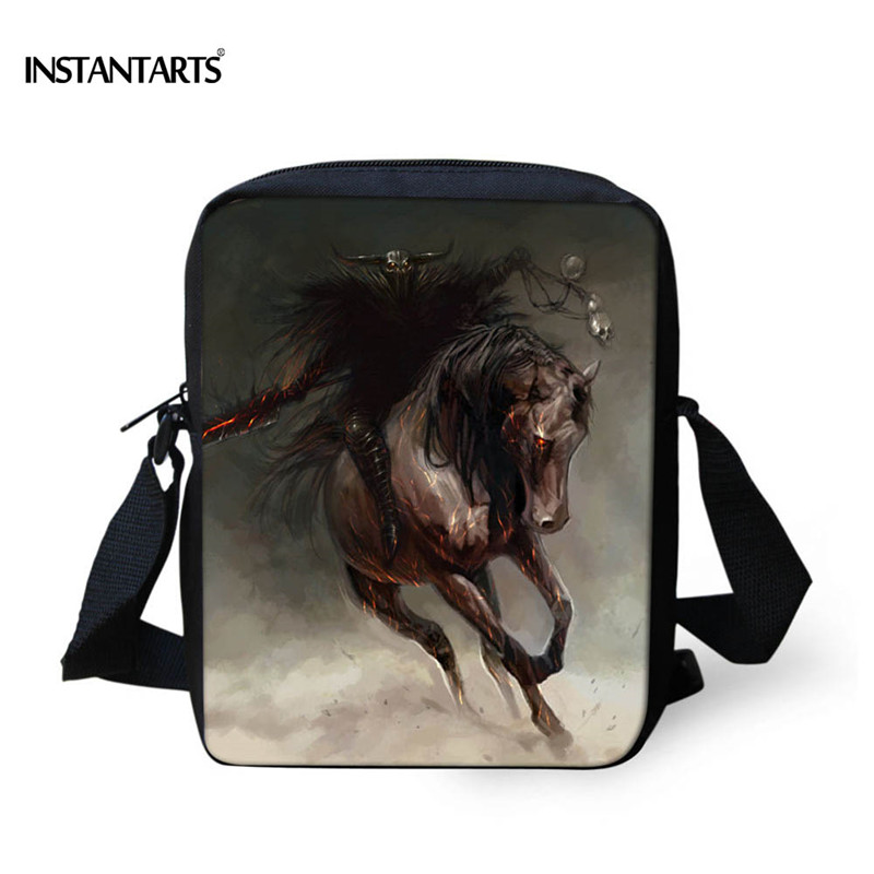 INSTANTARTS Crazy Horse School Bags for Boys Kids Animal Satchel Children Small Shoulder Book Bag Kindergarten Baby Schoolbag