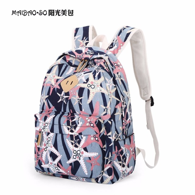 New Arrival Summer Starfish Bag Canvas Backpack For Women Starfish Pattern School  Bag Rucksack For Teenage 557d24333f59b