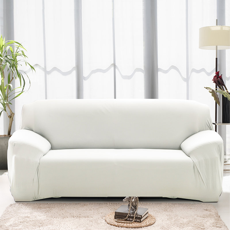 Plain Solid Pattern Couch Covers for Sectional and Cornered Sofa in Living Room with elastic Band and Strap 3