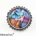 925 Sterling Silver Natural Round Multicolor Pretty Dichroic Glass Men Jewelry Ring Sz.10 TK381 FREE SHIPPING