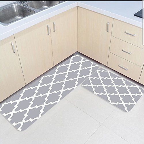 Us 32 56 46 Off 2 Piece Kitchen Mats And Rugs Set Modern Moroccan Trellis Home Deocr Non Skid Area Runner Doormats Carpet In Rug From Garden