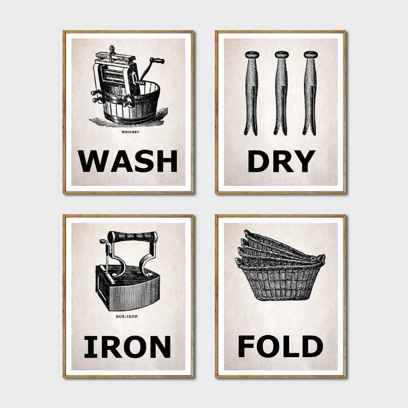 Laundry Room Prints Wash & Dry & Iron & Fold Vintage Posters Canvas Painting Pictures Laundry Room Wall Art Decor