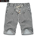 Men's Beach Shorts Cotton and Linen Summer Thin Striped Printing Drawstring Shorts Large Size Loose Casual Shorts 3XL 4XL 5XL