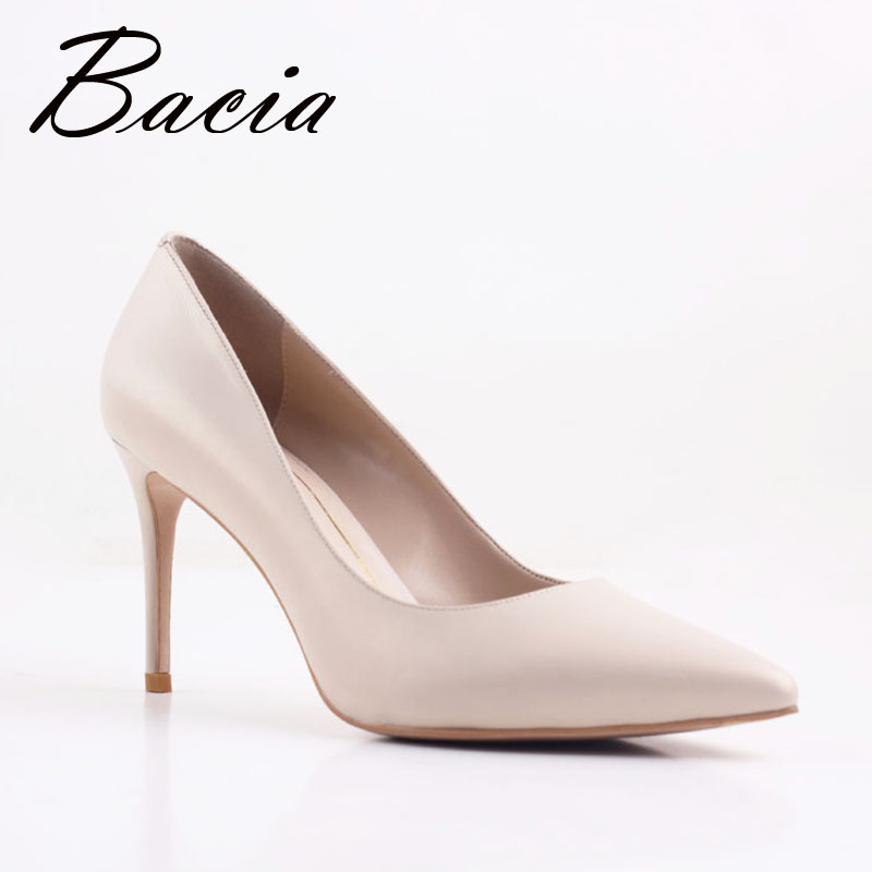 Bacia New Sheep skin High Heels Women Genuine Nutural Leather Pumps Fashion Elegant Wedding Pink Red Shoes Handmade shoes VB034