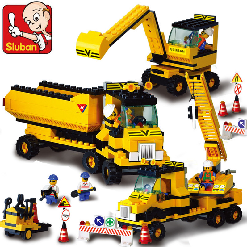 SLUBAN 9700 City Crane Blocks City Construction Series Building Blocks 474pcs/set Bricks DIY Building Toy Kid Christmas Gift the new jjrc1001 lepin city construction series building blocks diy christmas gift for kid legoe city winter christmas hut toy