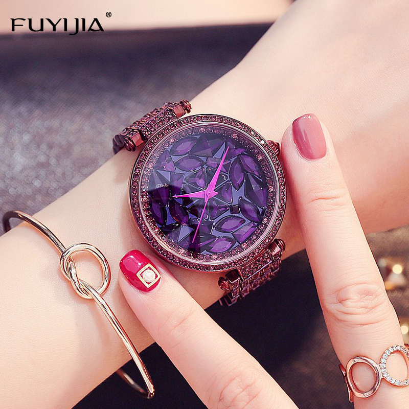 NEW Dress Women's Quartz Watches Ladies Steel Bracelet Watch Top Brands FUYIJIA Luxury Watch Rose Gold Lady Waterproof Watch 2016 new watch creative fashion lady love rose gold bracelet watch korea version of the trend of personalized watches