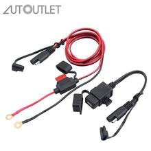AUTOUTLET 2.1A водонепроницаемый мотоцикл 12 в SAE USB интерфейс кабель с переходником для зарядного устройства Комплект Встроенный предохранитель, аксессуары для телефона gps