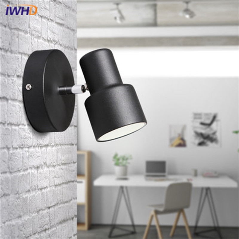 Black White Iron Modern Wall Lamp LED Fashion Indoor Lighting Wall Light Fixtures Creative Bedside Wall Sconce Home Lighting 12w fashion arts painting pvc led wall lamp modern bedside light wall sconces fixtures for stairs bar cafe indoor home lighting