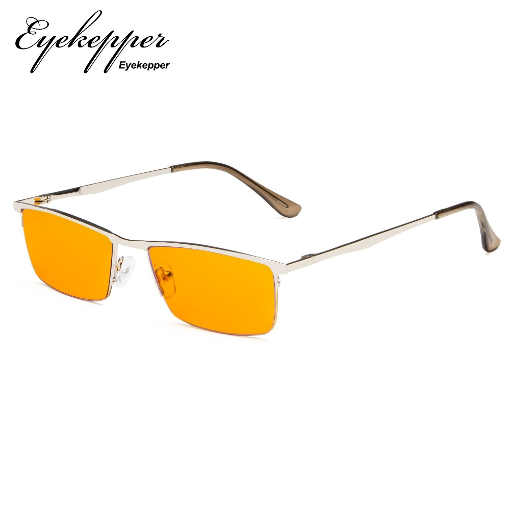 DS1614 Eyekepper Blue Light Blocking Glasses Half Rim Computer Readers Nighttime Eyewear Special Orange Tinted Glasses