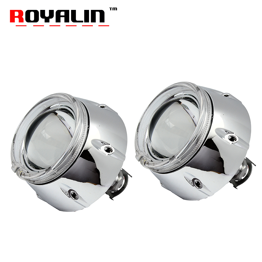 ROYALIN Car 3.0 inches Metal Headlight Projector Bi Xenon H1 Lens with 95mm White LED Angel Eye DRL For H4 H7 Auto Lamp Retrofit high quality new car led headlight with ballast mask angel eye 35w 6000k car led projector lens headlight